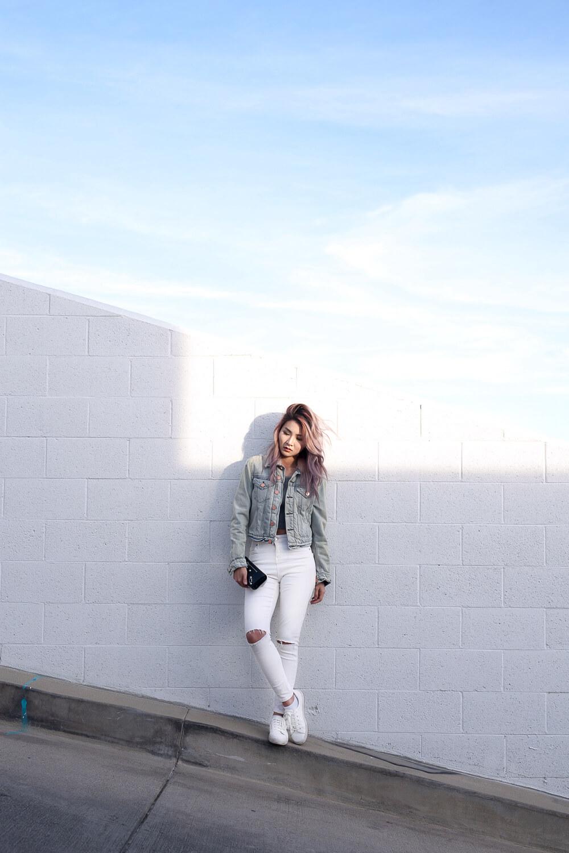 White Jeans and Acne Studios Denim Jacket | Atsuna Matsui