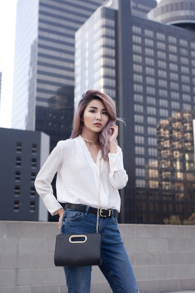 White Blouse and Blue Denim Jeans | Atsuna Matsui