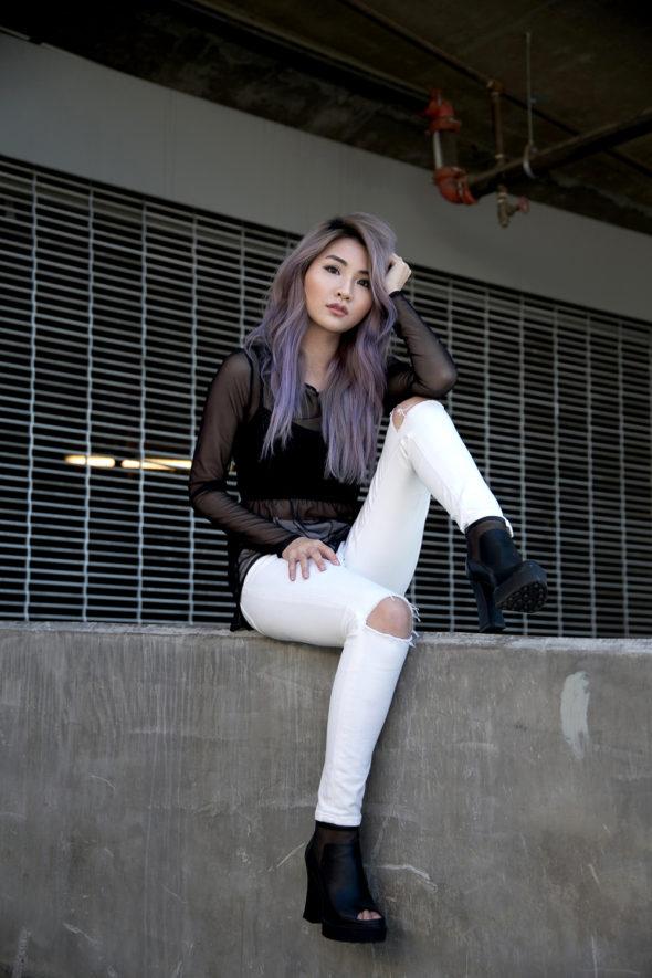 Black Sheer Top & White Pants | Atsuna Matsui