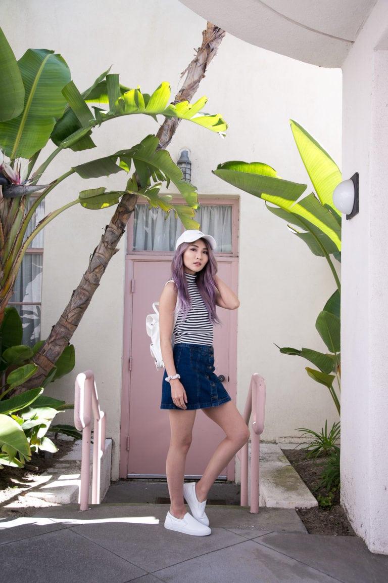 Stripe Top and Denim Button Up Skirt | Atsuna Matsui
